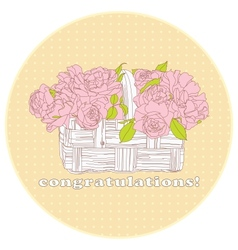 card with a bouquet of roses vector image
