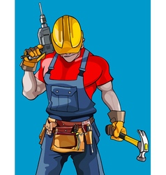 cartoon man in a helmet with a drill with a hammer vector image