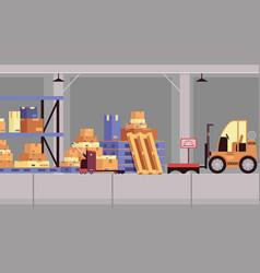 cartoon warehouse interior with nobody in it vector image