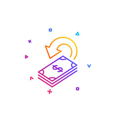 Cashback line icon dollar payment sign vector