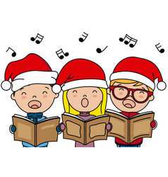 Children singing christmas songs with santa hat vector