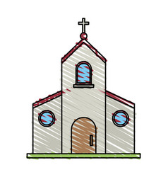 Color crayon stripe image church building with vector