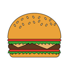 Color image cartoon big bread hamburger fast food vector