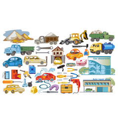 Colored cars and auto service set vector