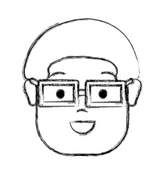 Contour happy man with hairstyle and glasses vector