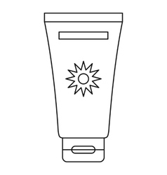Cream sun protection icon outline style vector