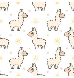 cute llama seamless pattern background vector image