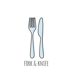 cutlery knife fork doodle icons vector image