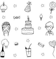Doodle art wedding party vector image