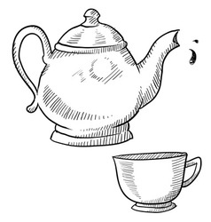 doodle tea teapot cup drink vector image
