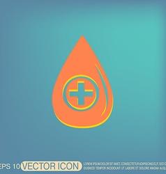 drop with a cross medical symbol of liquid vector image