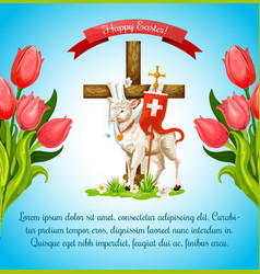 Easter cross with lamb and flower poster template vector