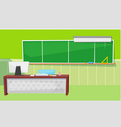 Educational place chalkboard and computer vector