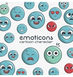 Emoticons cartoon character faces expression vector