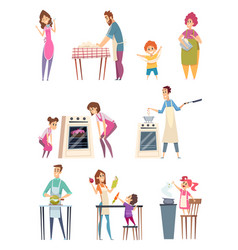 Family cooking happy characters couple parents vector