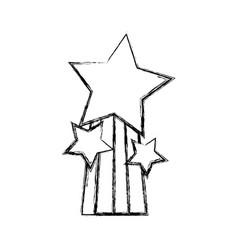 Figure shiny stars design with rainbow icon vector