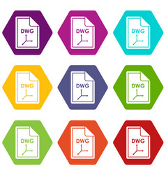 File dwg icon set color hexahedron vector