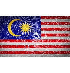 Flags Malaysia with broken glass texture vector