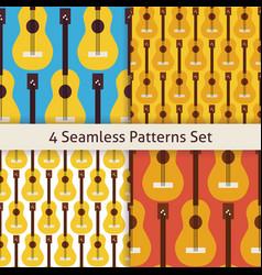 Four Flat Seamless String Music Instrument Guitar vector