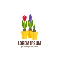 Garden tools logo Cartoon flat style vector image