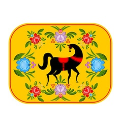 Gorodets painting Black horse and floral elements vector