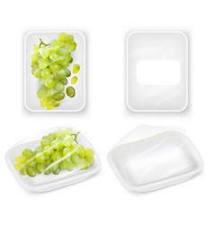 grapes tray packaging realistic mockup set vector image