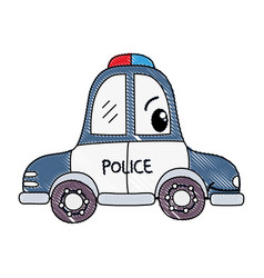 Grated kawaii happy police car transport vector