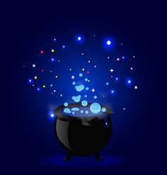 halloween of witch pot with boiling potion vector image