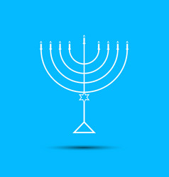 hanukkah menorah on light blue background a vector image