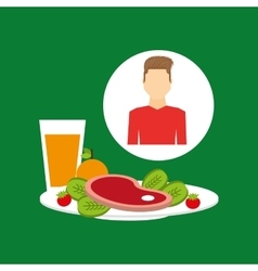 Healthy food man with plate food vector