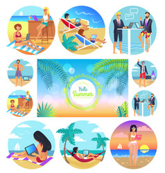 hello summer 2017 poster set vector image