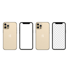 Iphone 13 pro max gold color realistic smartphone vector