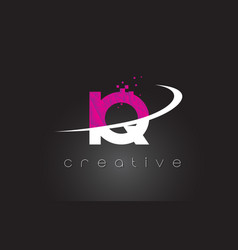 Iq i q creative letters design with white pink vector