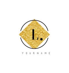 l letter logo with golden foil texture vector image