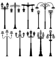 lamp post lamppost street polelight a set of vector image