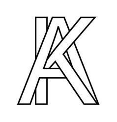 logo sign ak ka sign two interlaced letters a k vector image