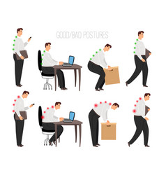 man improper and correct postures vector image