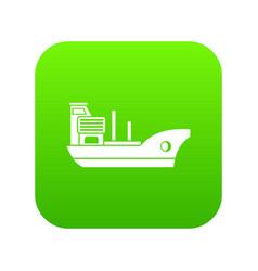 marine ship icon digital green vector image