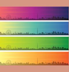 Melbourne multiple color gradient skyline banner vector