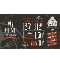 Menu with bar price list vector