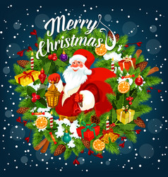 Merry christmas card with santa claus holding sack vector