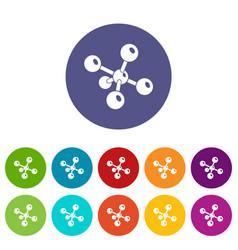 Molecule chemistry icons set color vector