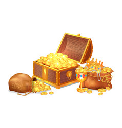 Old shiny treasures in wooden chest and silk sacks vector