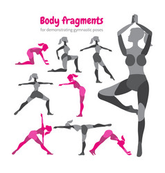 Pack of body parts body workout set woman doing vector