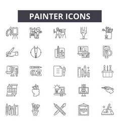 painter line icons signs set outline vector image