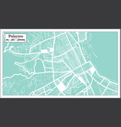 palermo italy city map in retro style outline map vector image