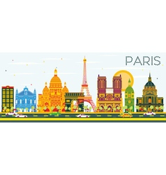 Paris Skyline with Color Buildings vector