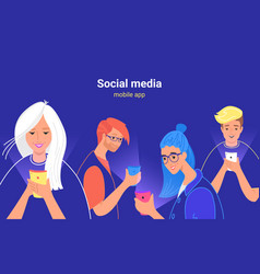 People using social media for chatting sharing vector