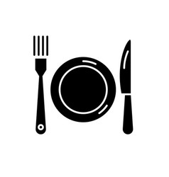 plate fork and knife black icon sign on vector image
