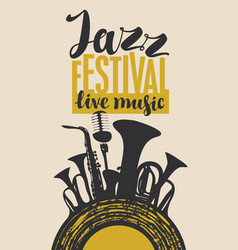 poster for jazz festival with wind instruments vector image
